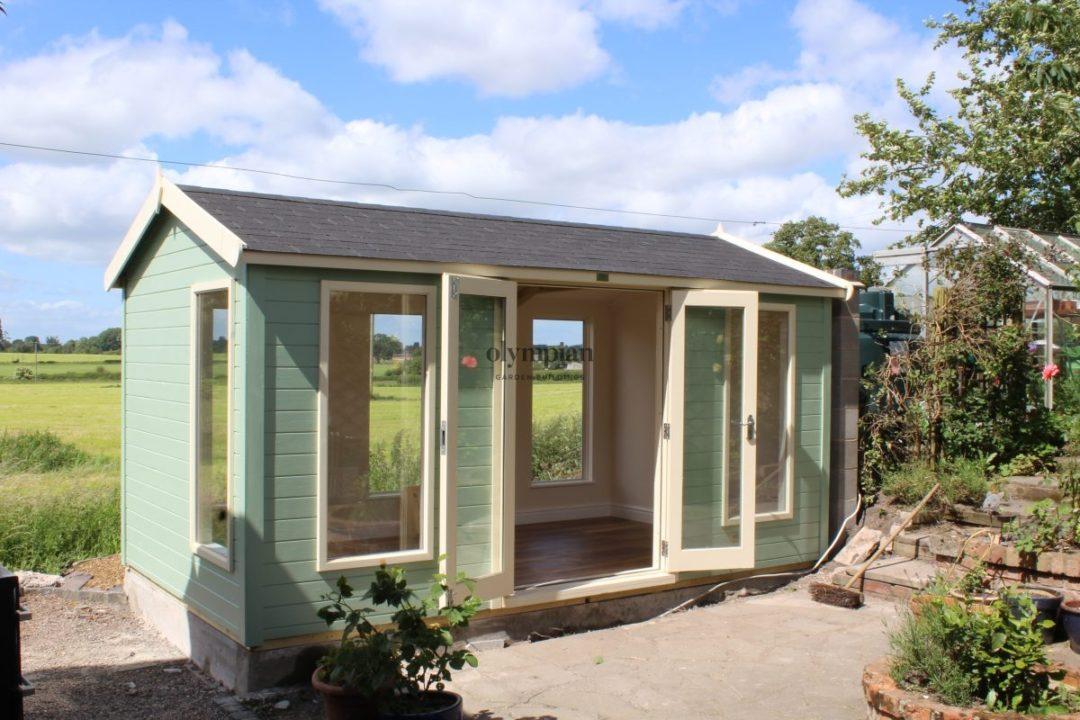 Insulated Garden Room Studio Office Large Windows and Double Doors