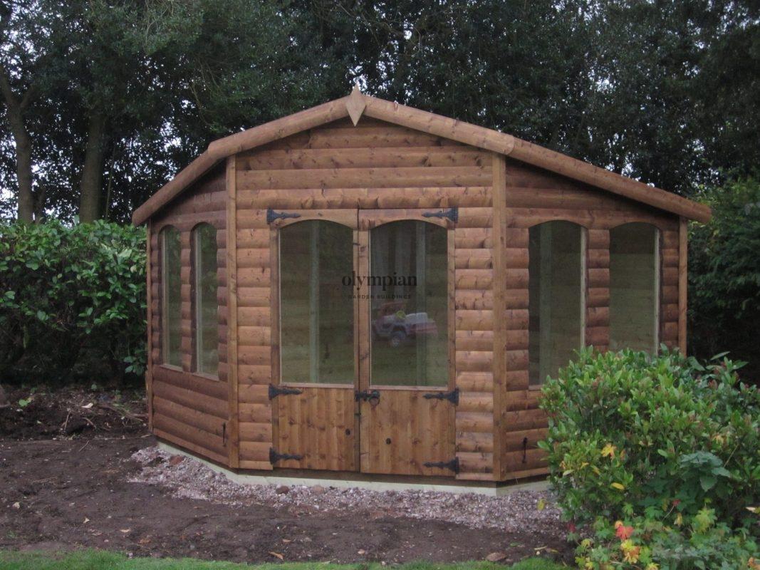 Brown modern corner summerhouse