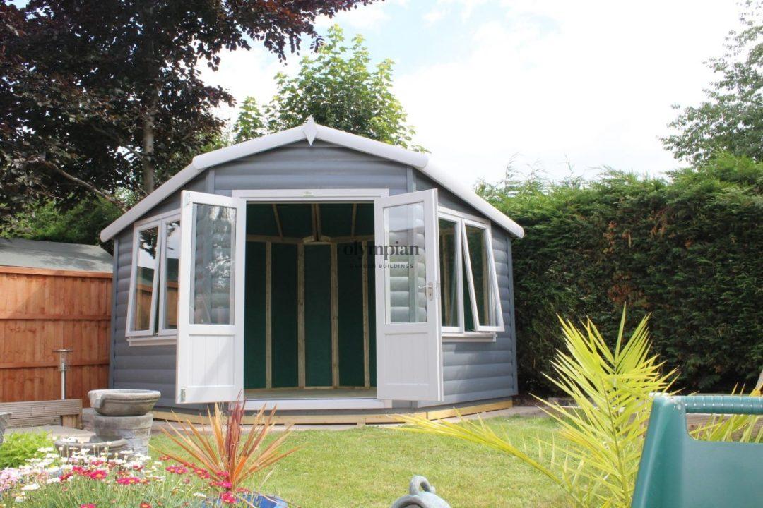 Painted modern corner summerhouse