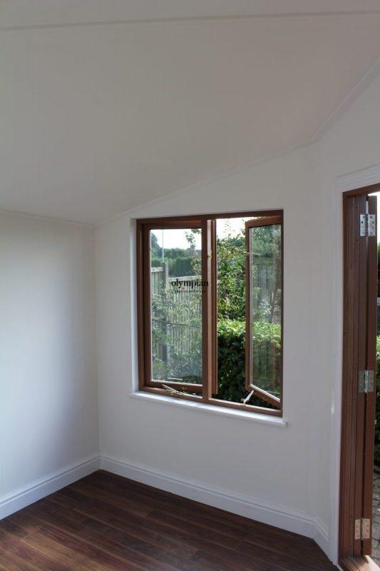 Internal view of modern corner summerhouse