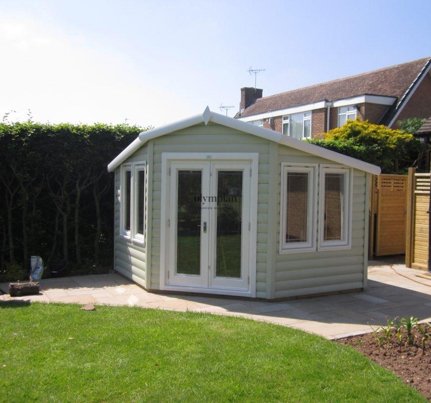 Painted corner summerhouse