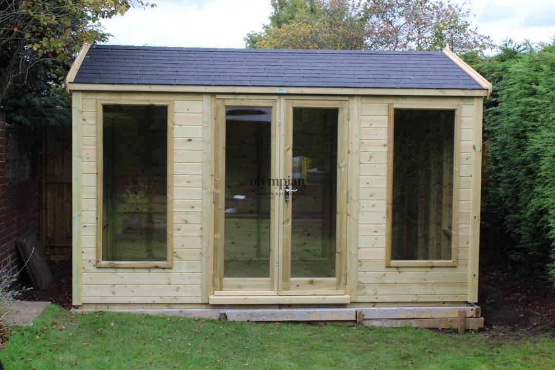 Modenr garden studio with felt shingles