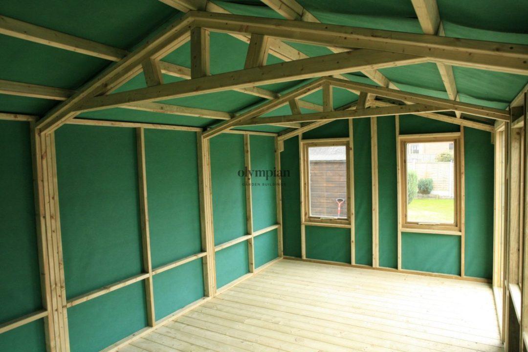 Internal view of heavy duty summerhouse