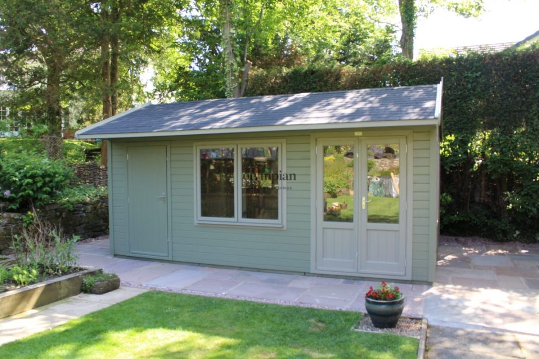 Combination Cheshire Studio Multipurpose building with separate storage area with paving around