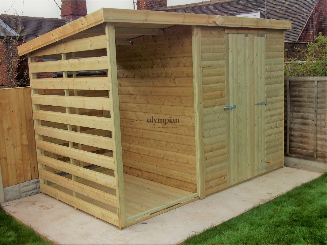 Combination shed with log store attached