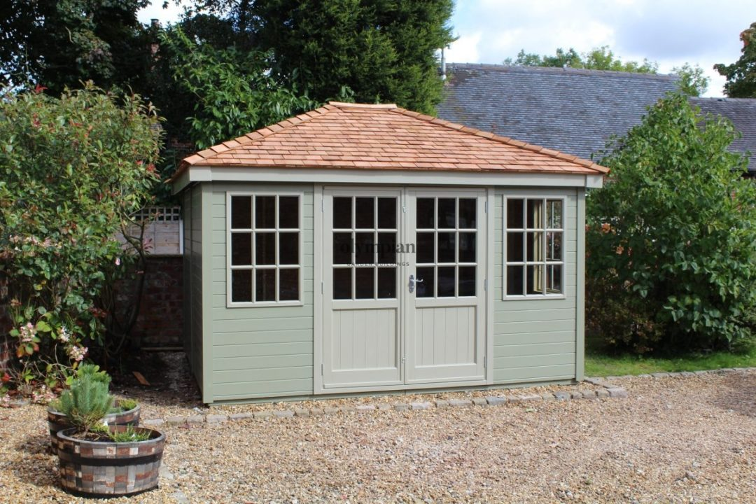 Painted hipped roof summerhouse