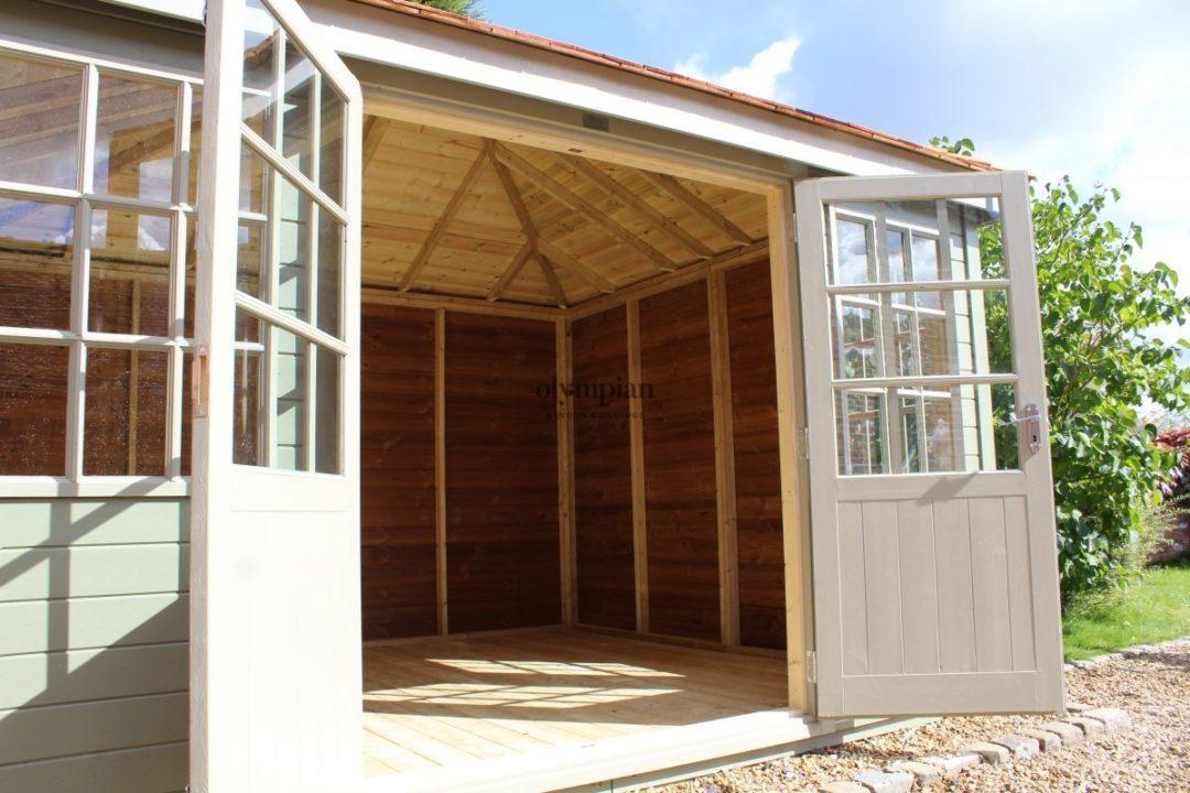 Painted hipped corner summerhouse