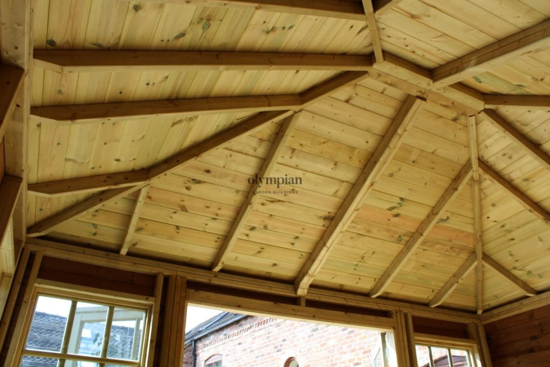 Internal view of hipped roof summerhouse