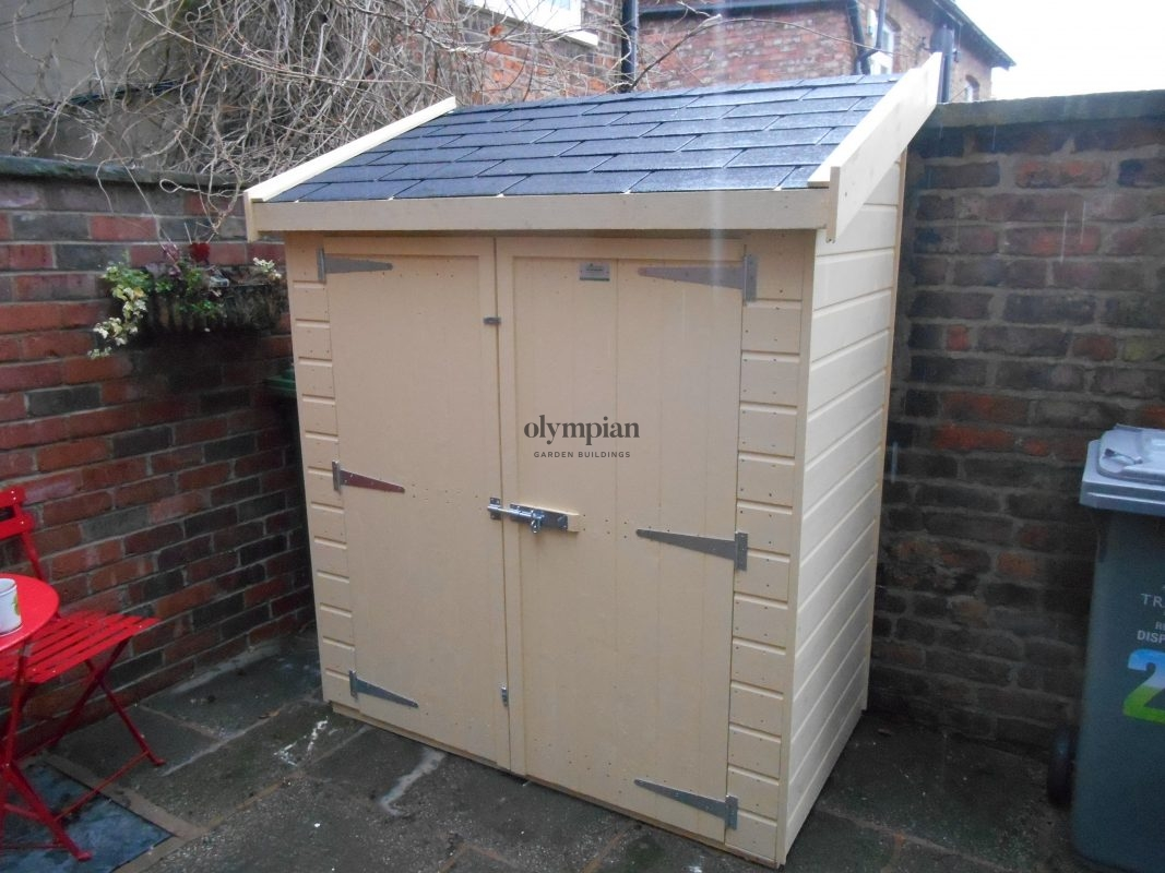 Painted Lean-To Storage Shed with felt shingles
