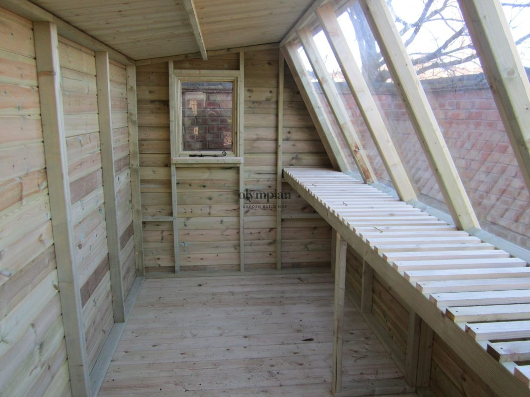 Solar Potting Shed internal view with additional window
