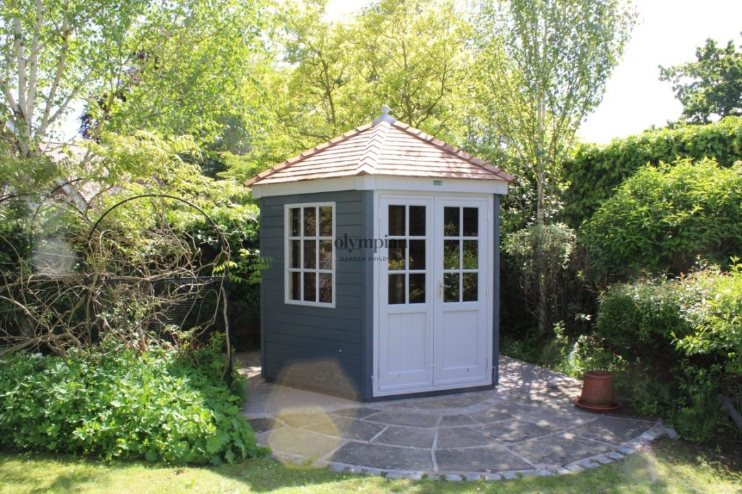 Tatton Summerhouse corner hexagonal round attractive garden building