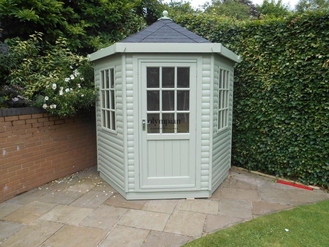 Hexagonal Summerhouse with felt shingles