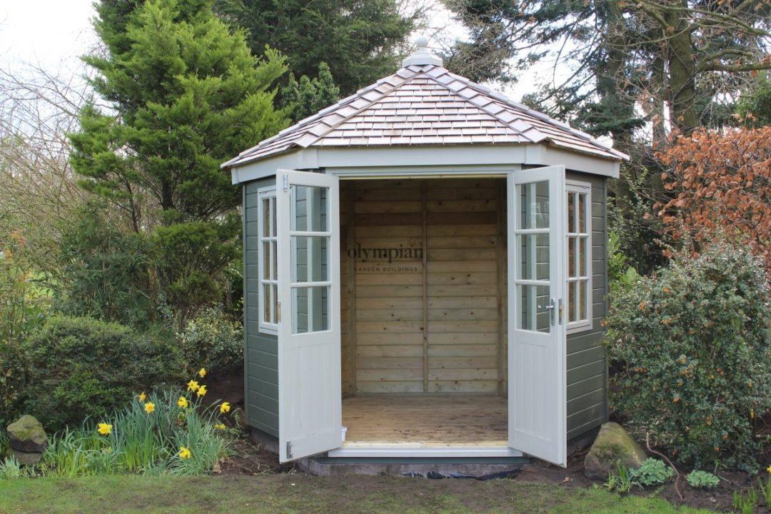 Painted hexagonal summerhouse