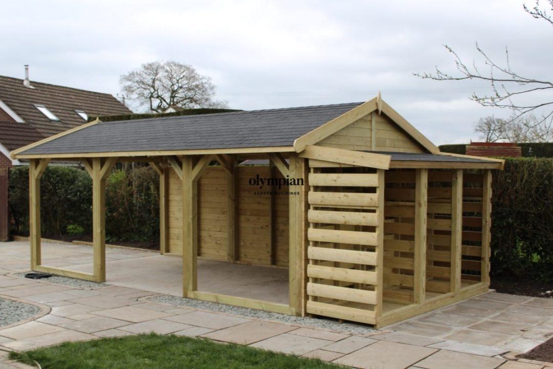 Bespoke building oak frame garage with log store