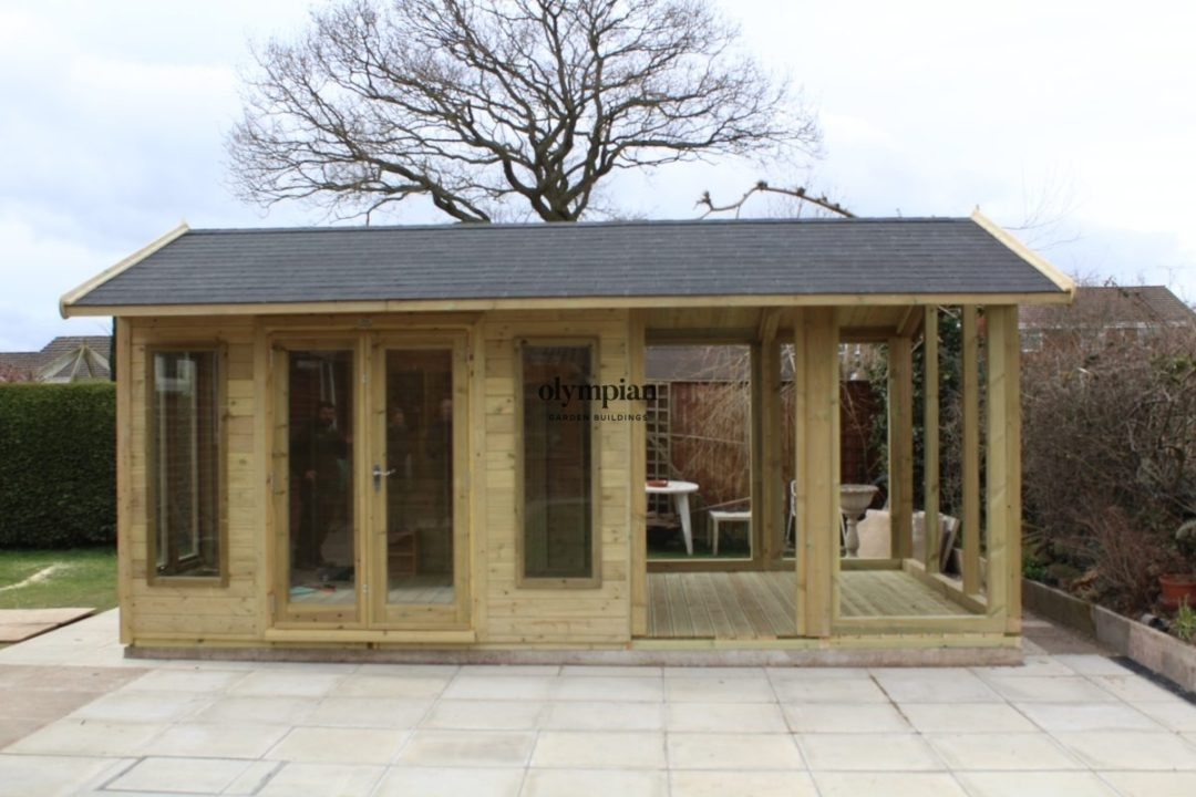 Bespoke garden building part summerhouse with covered seating area